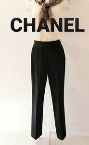CHANEL Vintage Black High Waist Side Zip Trouser 8